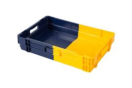 turning and stacking plastic containers bi color body